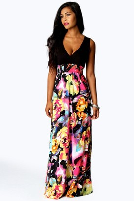 boohoo Petite Kiera Rose Print Maxi Dress