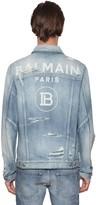 Balmain Destroyed Logo Cotton Denim Jacket