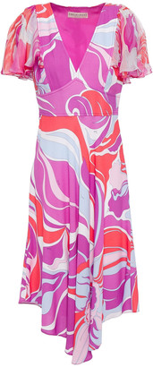 Emilio Pucci Asymmetric Printed Chiffon And Crepe Dress