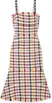 Oscar de la Renta Fringed Houndstooth Wool-blend Tweed Dress - Red