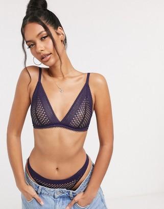 Calvin Klein unlined triangle bra in navy