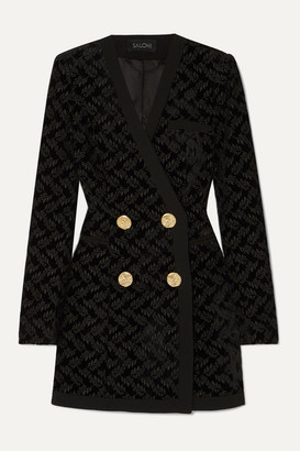 Saloni Bree Embroidered Velvet Mini Dress - Black