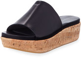 Stuart Weitzman Leather Wedge Sandal, Black
