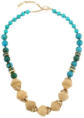 Akola Turquoise-Color Stone & Raffia Floral-Accented Necklace
