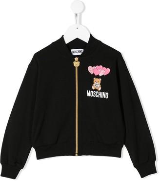 MOSCHINO BAMBINO Logo-Print Bomber Jacket