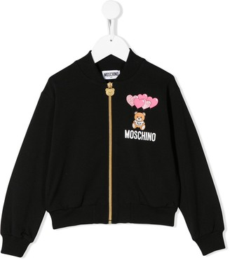 Moschino Kids logo-print bomber jacket