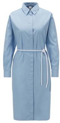 HUGO BOSS Cotton poplin shirt dress with cord belt