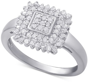 Townsend Victoria Diamond Square Ring (1/2 ct. t.w.) in Sterling Silver or 18k Gold-Plated Sterling Silver