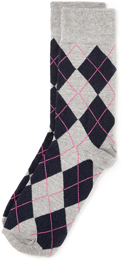 Topman Grey and Pink Argyle Socks