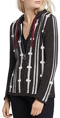 Nic+Zoe Striped Hooded Zip Cardigan