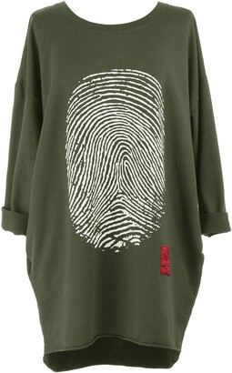 TEXTURE Ladies Womens Italian Lagenlook Long Sleeve Camo Army Print Cotton Tunic Top Sweatshirt One Size