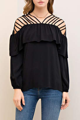 The Vintage Valet Black Ruffle Top