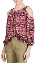 Lauren Ralph Lauren Ikat-Print Cutout-Shoulder Top