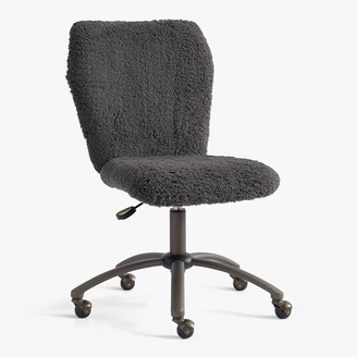 Pottery Barn Teen Recycled Blend Sherpa Charcoal Airgo Swivel Desk Chair