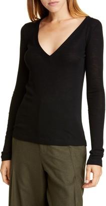 Vince Deep V-Neck Long Sleeve Wool Sweater