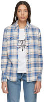 Saint Laurent Pink and Blue Western Pocket Flannel Shirt