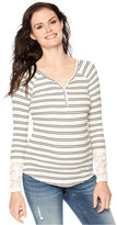 Wendy Bellissimo Maternity Lace-Sleeve Striped Henley Top