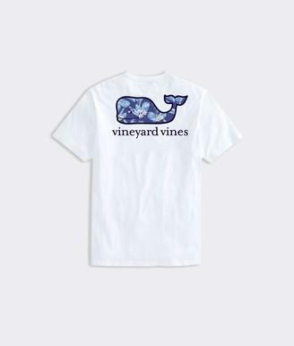 Vineyard Vines Men's Textured Tropical Flowers Whale Fill Short Sleeve Pocket T-Shirt