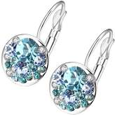 Swarovski Micalla Jewelry MICALLA Jewelry Women's Earrings Blue - Teal & Silvertone Cluster Drop Earrings With Crystals