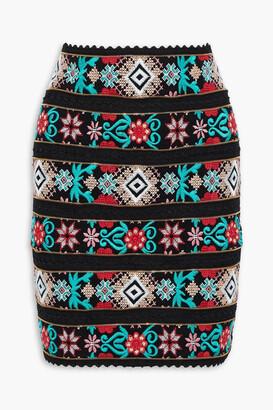 Costarellos Zip-embellished Embroidered Chiffon Mini Skirt