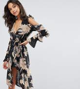 Missguided Cold Shoulder Wrap Floral Midi Dress