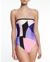 Kate Spade Limelight Bandeau One-Piece Swimsuit, Multicolor