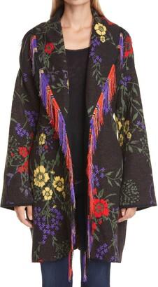 Fuzzi Floral Jacquard Belted Long Wool Cardigan