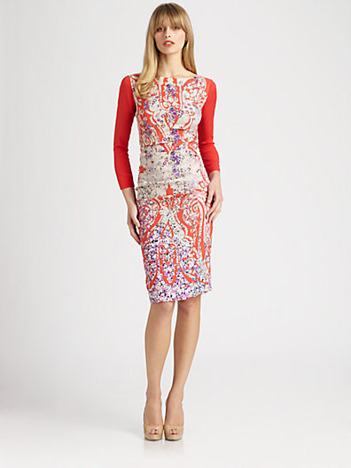 Etro Ruched Contrast Dress