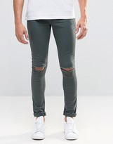 Asos Extreme Super Skinny Jeans With Knee Rips In Green