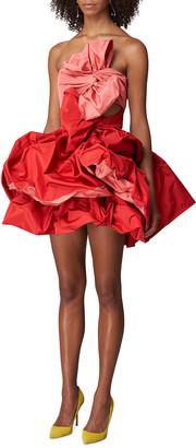 Carolina Herrera Strapless Two-Tone Double-Bow Mini Dress