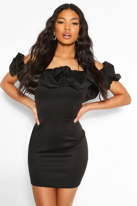 boohoo Scuba Rouched Detail Off The Shoulder Mini Dress