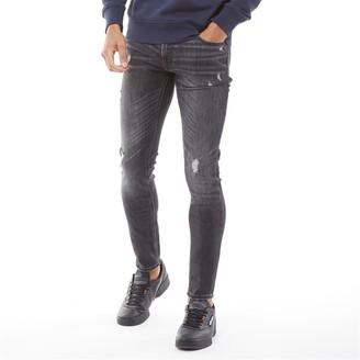Jack and Jones Mens Liam Original AM 164 Skinny Fit Jeans Black Denim