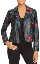 Elie Tahari Mae Embroidered Leather Moto Jacket