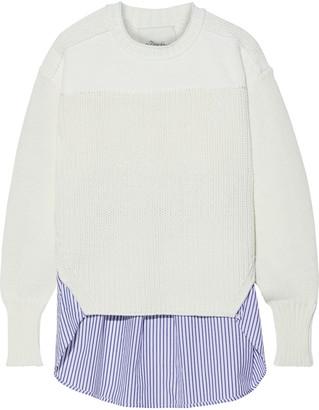 3.1 Phillip Lim Striped Poplin-paneled Cotton-blend Sweater