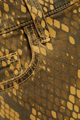 Current/Elliott The Stiletto Snake-print Mid-rise Skinny Jeans