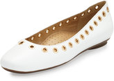 Neiman Marcus Sabri Grommet Leather Flat, White/Gold
