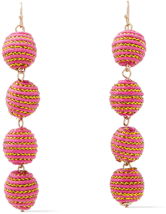 Kenneth Jay Lane Gold-tone And Cord Earrings