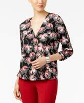 Alfani Printed Surplice Top, Only at Macy's