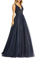 Mac Duggal 6-Week Shipping Lead Time Metallic Tulle Plunging Back Sleeveless Ball Gown