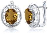 Gem Stone King 4.00 Ct Oval Quartz Greek Key 925 Sterling Silver Earrings