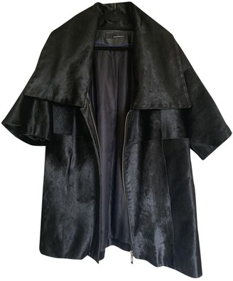 Amanda Wakeley Black Leather Coat for Women