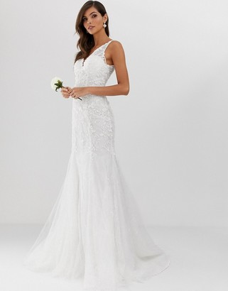 Asos Edition EDITION embroidered mesh over lace fishtail wedding dress-White