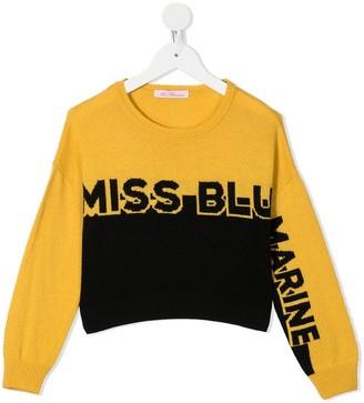Miss Blumarine Panelled Logo Jumper