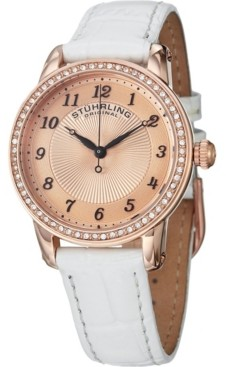 Stuhrling Original Classy Ladies Ultra Slim Quartz Watch, Rose Tone Case on White Alligator Embossed Genuine Leather Strap, Crystals on Rose Tone Bezel, Rose Tone Dial With Black Accents