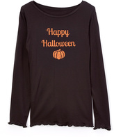 Beary Basics Black 'Happy Halloween' Pumpkin Tee - Toddler & Girls