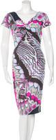 Roberto Cavalli Butterfly Print Midi Dress