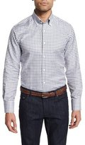 Neiman Marcus Dashed-Check Long-Sleeve Sport Shirt, White