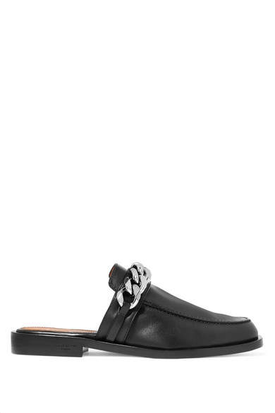 Givenchy Chain-trimmed Leather Slippers - Black