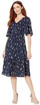 Mila Louise American Rose Button-Up Ruffle Dress (Navy) Women's Clothing