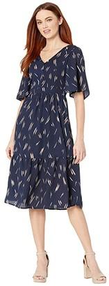 Mila Louise American Rose Button-Up Ruffle Dress (Navy) Women's Clothing
